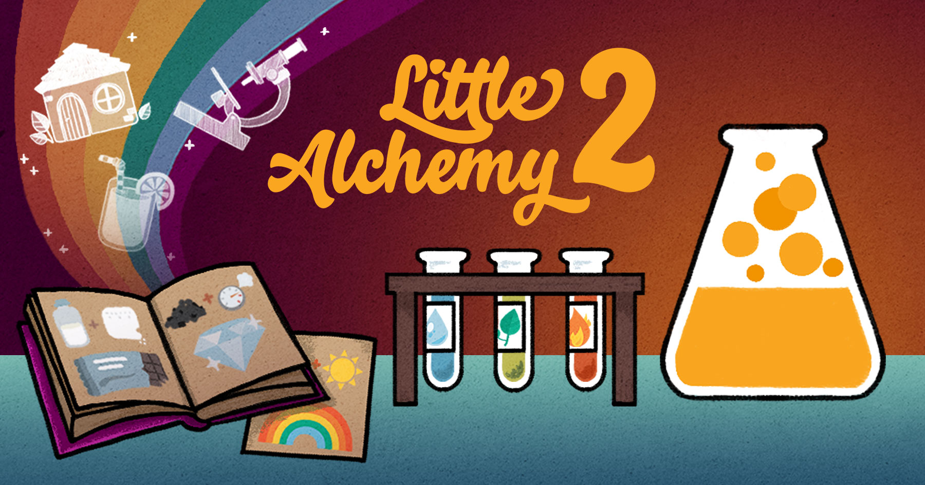 little alchemy 2 wrtten with an orange fonts